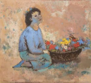 Painting of girl with flowers